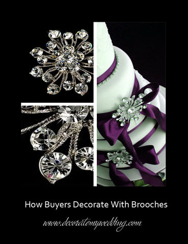 Using clear rhinestone brooches purple ribbons and bows to decorate a wedding cake.