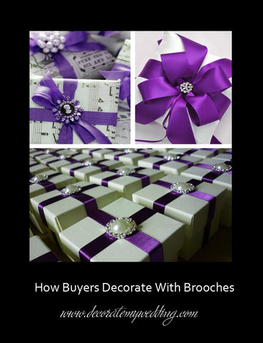 Wedding gifts are decorated with a variety of rhinestone brooches and pins.