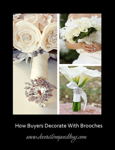 Rhinestone brooches are used to decorate the handle of a bridal bouquet.