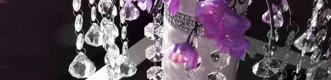 Dangling octagon beads and diamond drops.