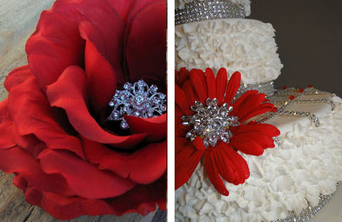 Floral centers decorated with rhinestone brooches.