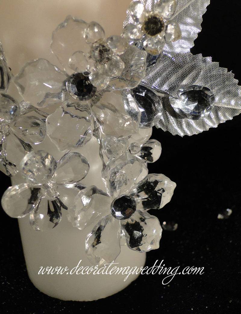CANDLES Pillar w/ Crystal Corsage HEIDI SOLD OUT