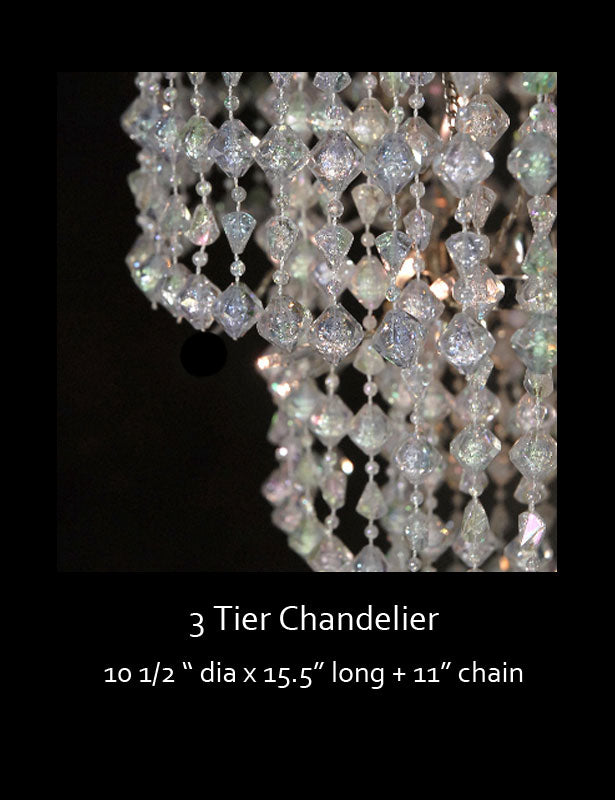 A close up look at the different widths of each tier of the chandelier.