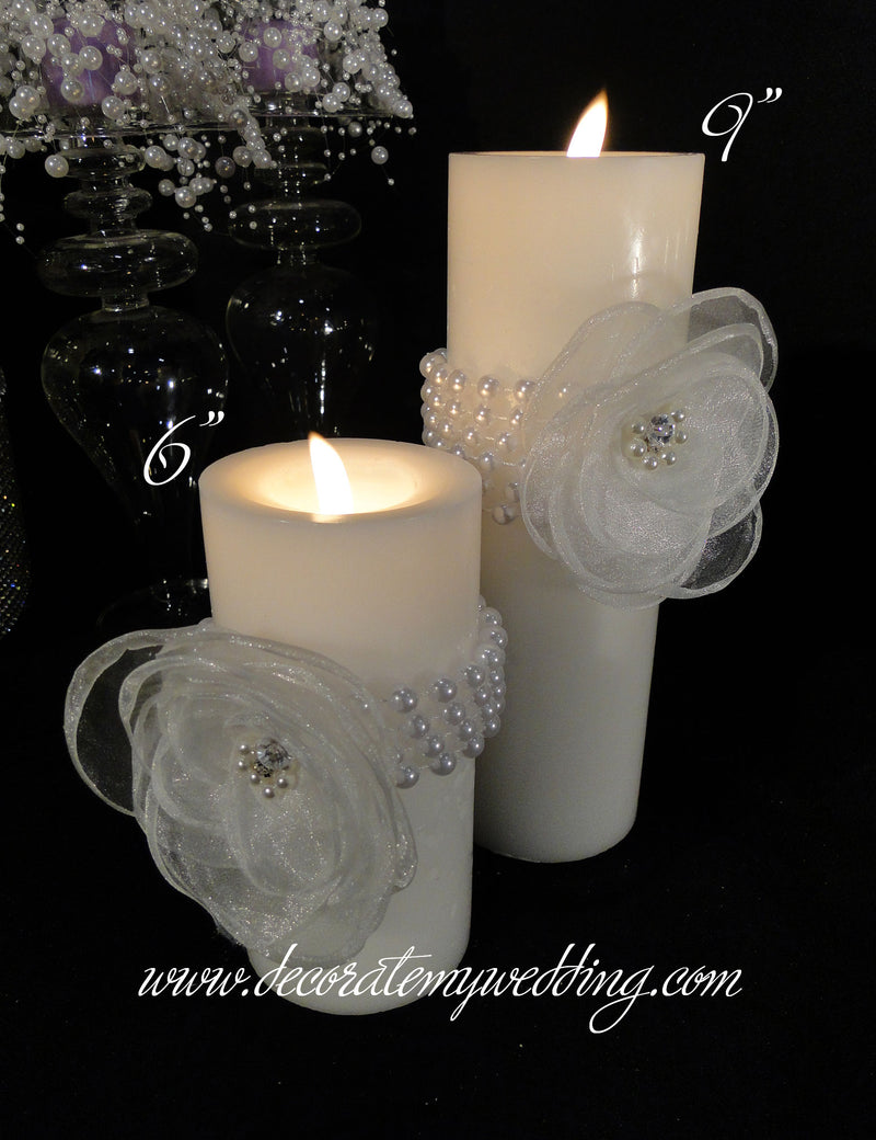 HARPER Pillar Candle w/ Pearl Bead Wrap