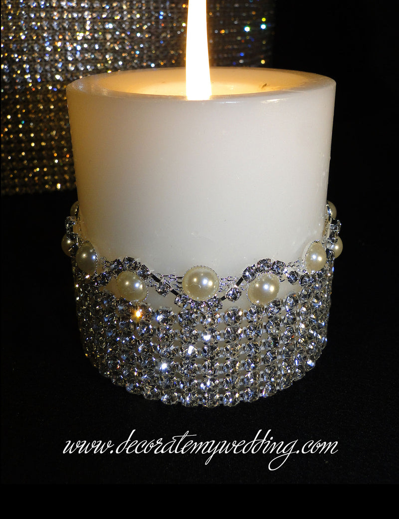 HAYDEN Pillar Candles w/ Pearl Trim S-SHAPE