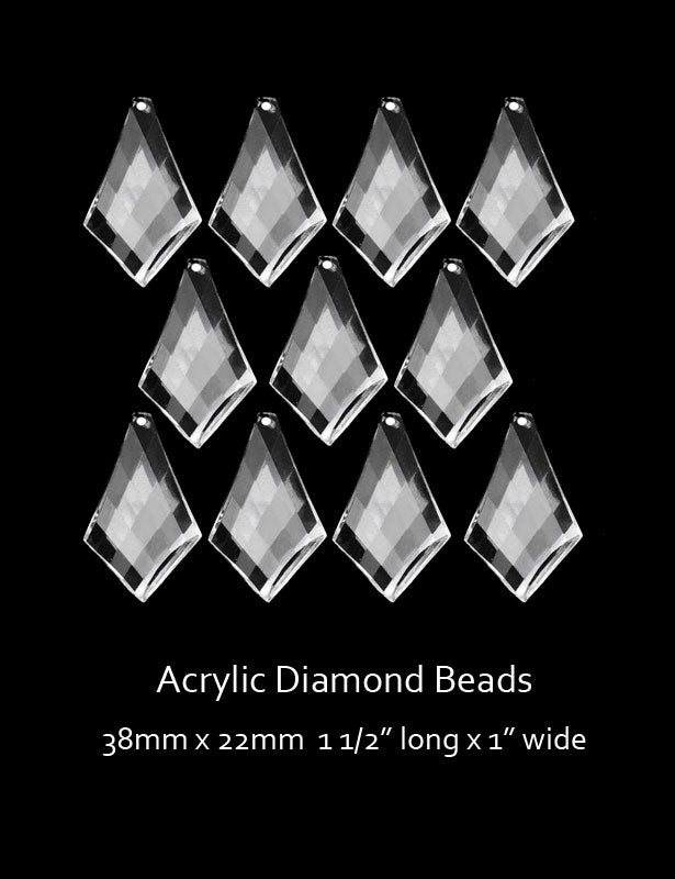 "Our acrylic diamond-shaped beads have a criss-cross design and measure 1 ½"" long x 1"" wide."