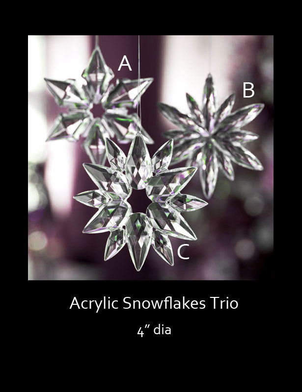 This trio of acrylic snowflakes are crystal clear and available in three different designs.