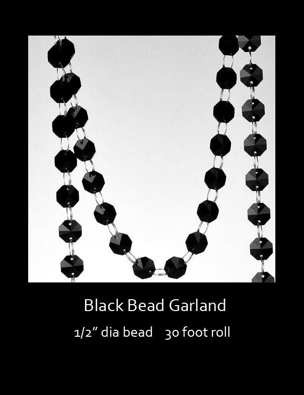 "The black beads measure ½"" in diameter, and the garland measures 30 feet long."
