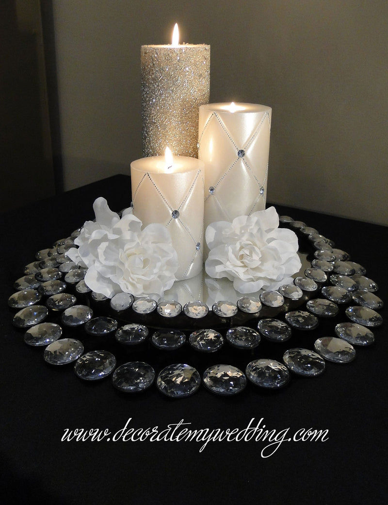 This cake stand can also be used as a candle centerpiece.