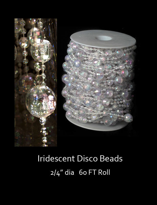 The disco bead decorations have an iridescent white finish that covers large and small size ball-shaped beads.