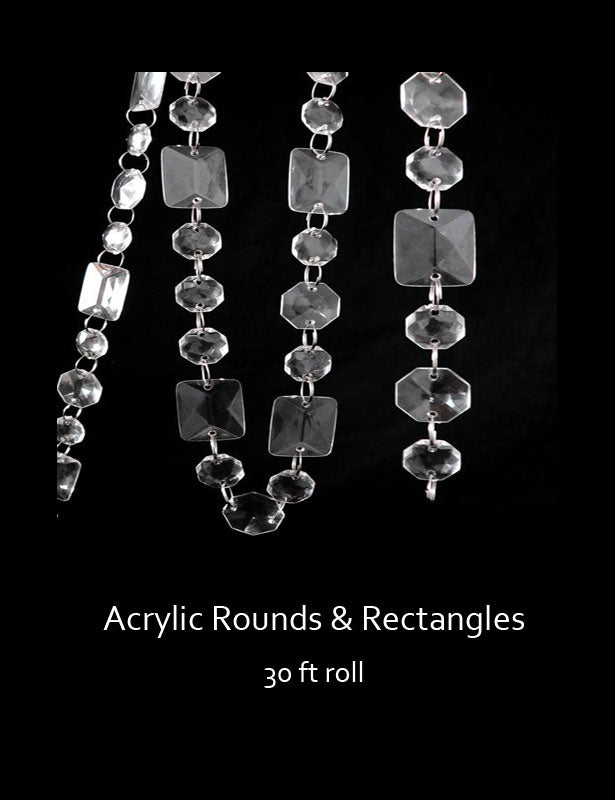 The round and rectangular shapes are connected with silver rings to create the bead strings.