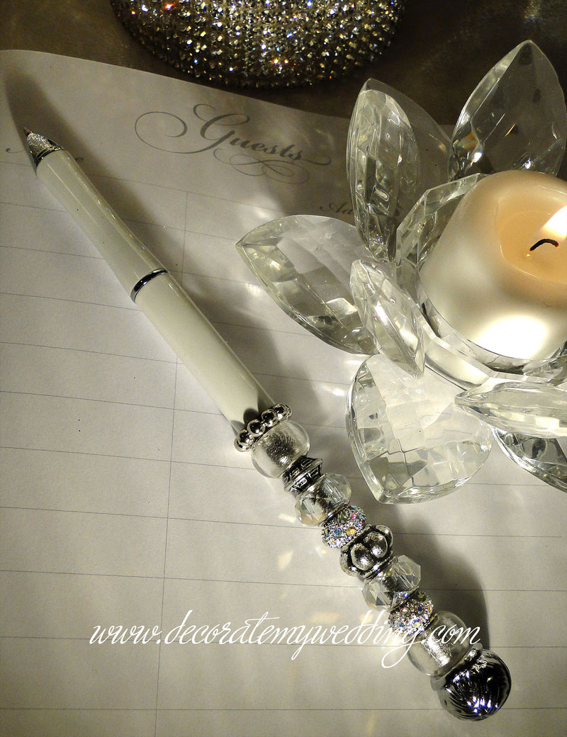 This beaded pen will be a beautiful accent at your wedding guest book table.