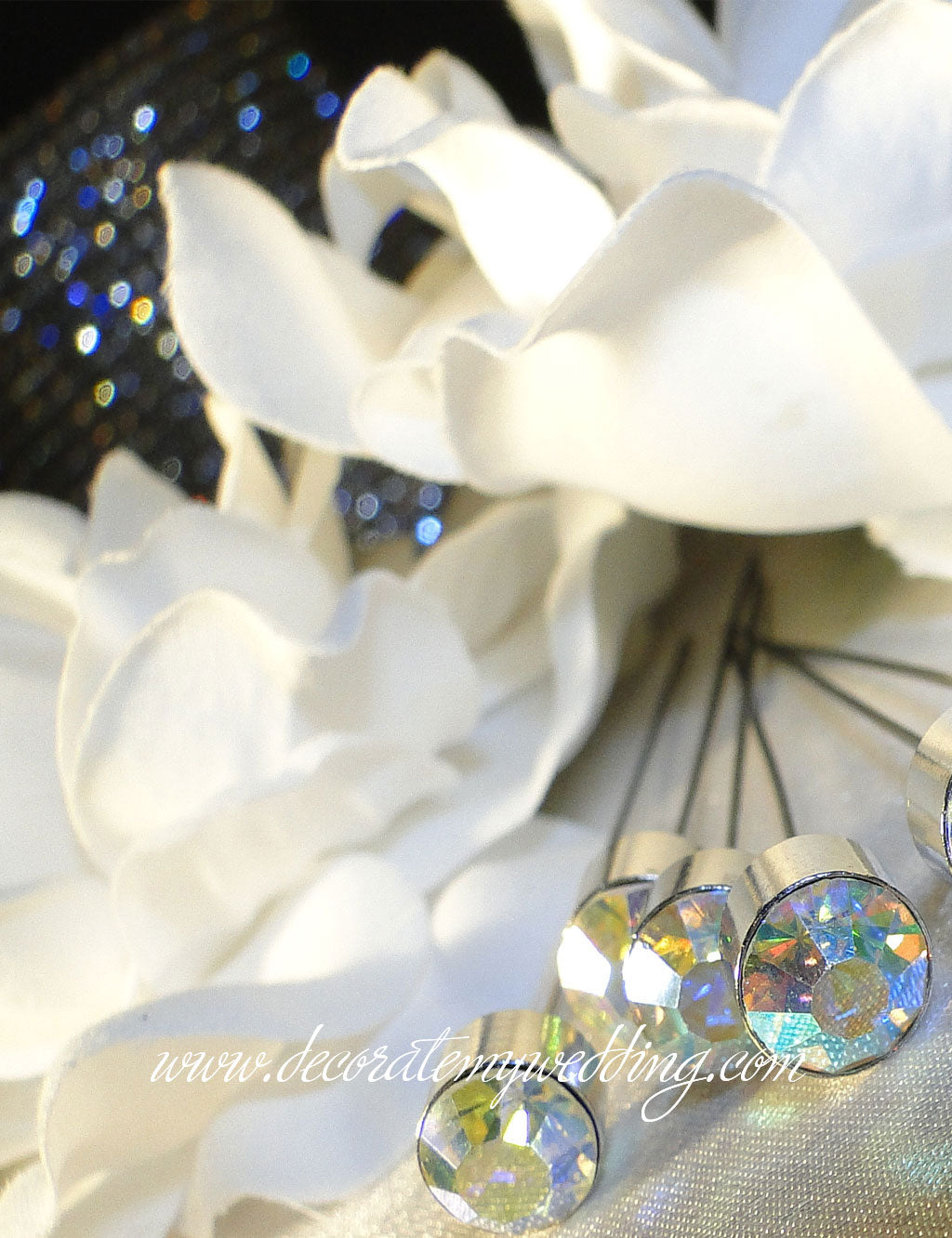 2a955e0457b These sparkling clear iridescent crystal beads are perfect bouquet bling  for the bride's bouquet.