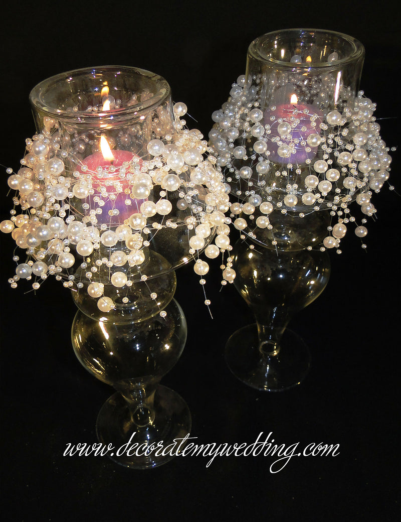 BROOKE Votive Candle Holder w/ Pearl Garland