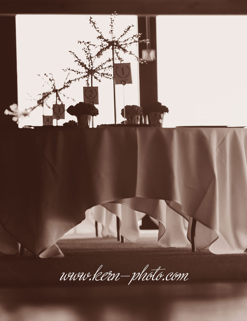 One tree on each guest table will create simple elegance.