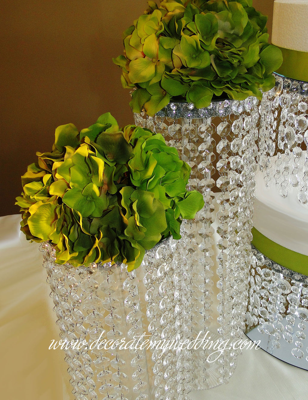 These beaded tower buffet decorations will add beauty, interest, and height to your buffet table.
