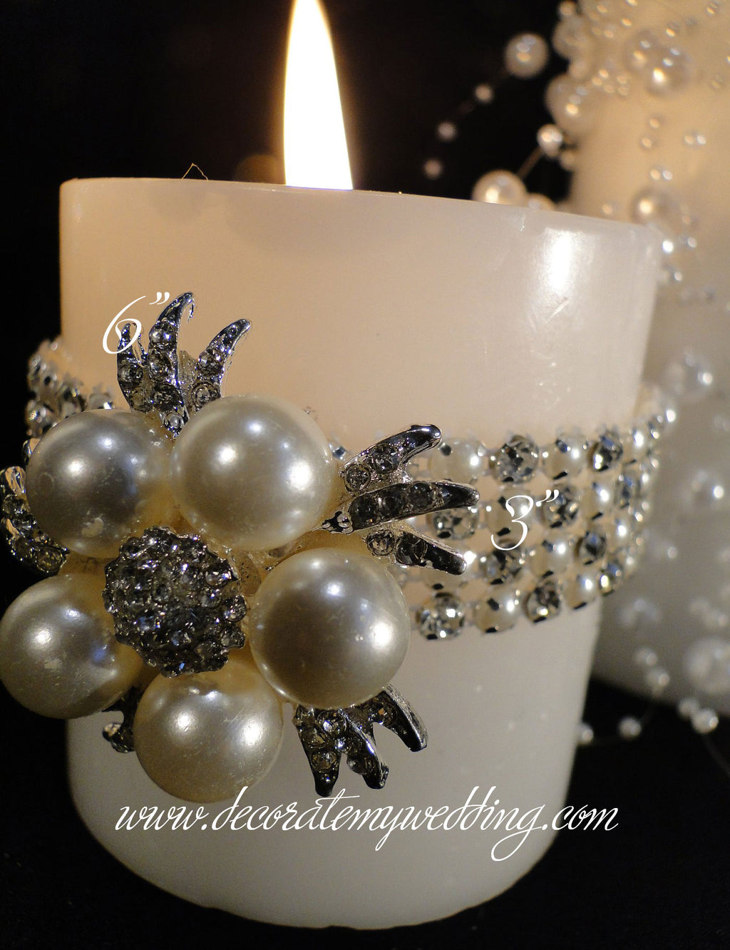 HADLEY Pillar Candles w/ Banding & Brooches
