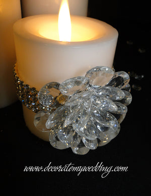 HENNA Pillar Candle w/ Crystal Bloom