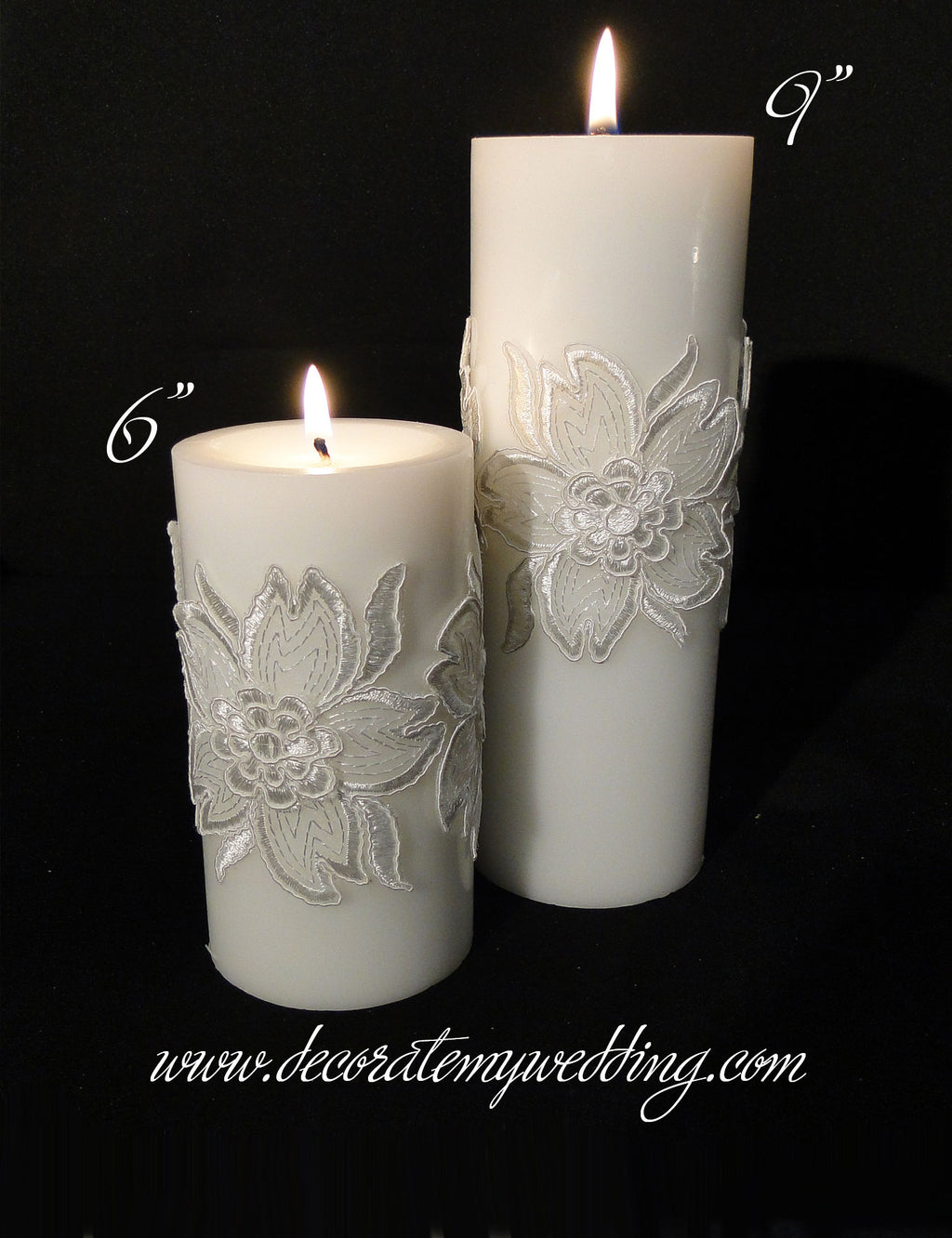 HELEN Pillar Candle w/ Floral Wraps