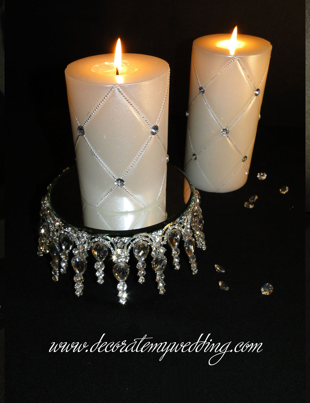Candles MELANIE Stand w/ Gem Stones CLEARANCE
