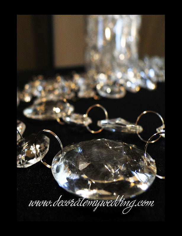 A close up look at the largest size of circle crystal beads.