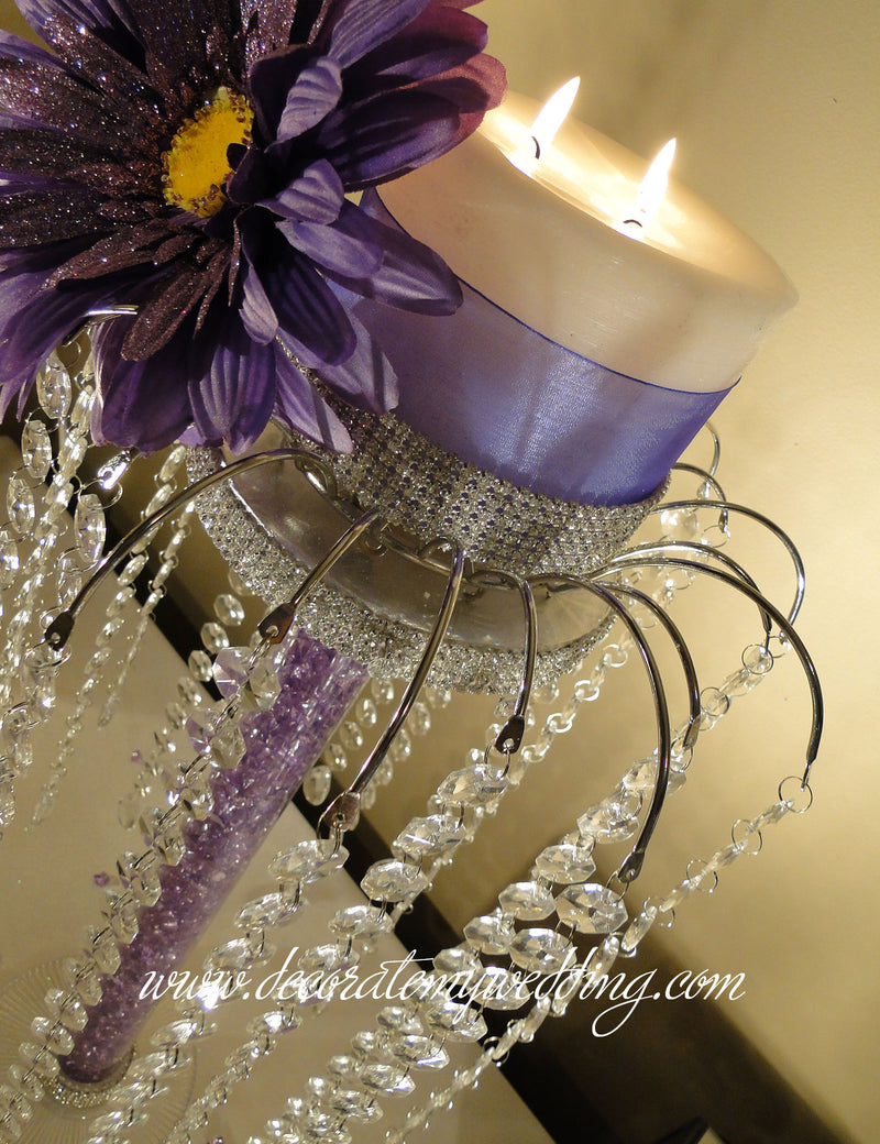 This centerpiece, with its long hanging crystals, will get a fair amount of attention. Make a great focal point when you need to set the tone.