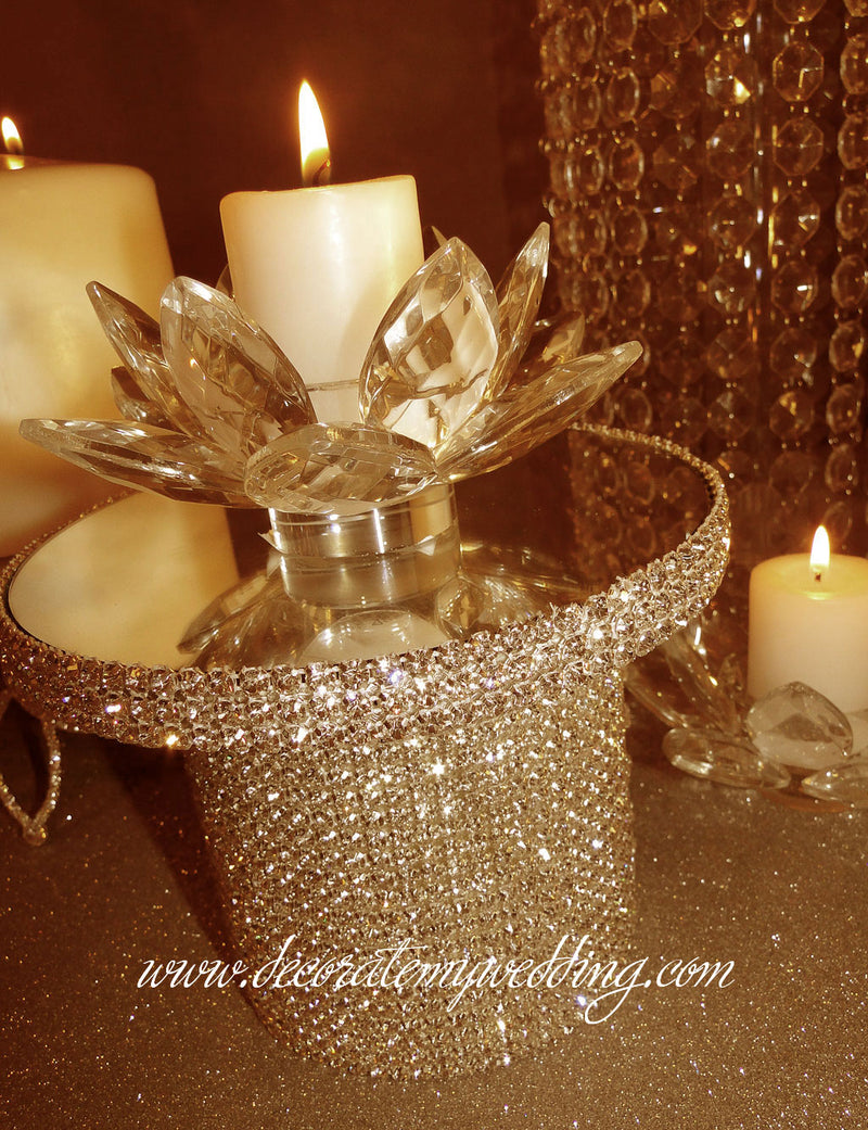 Candle holder with gold rhinestone banding