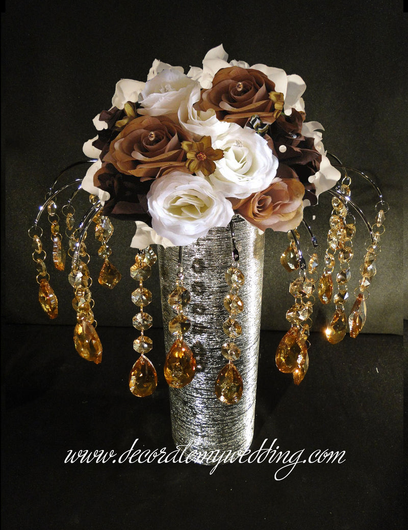 Champagne Wedding Centerpiece with hanging glass teardrops.
