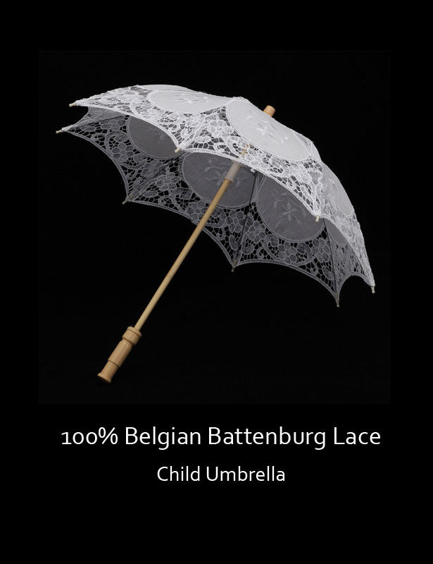 This child umbrella is made of 100% Belgian Battenberg Lace.