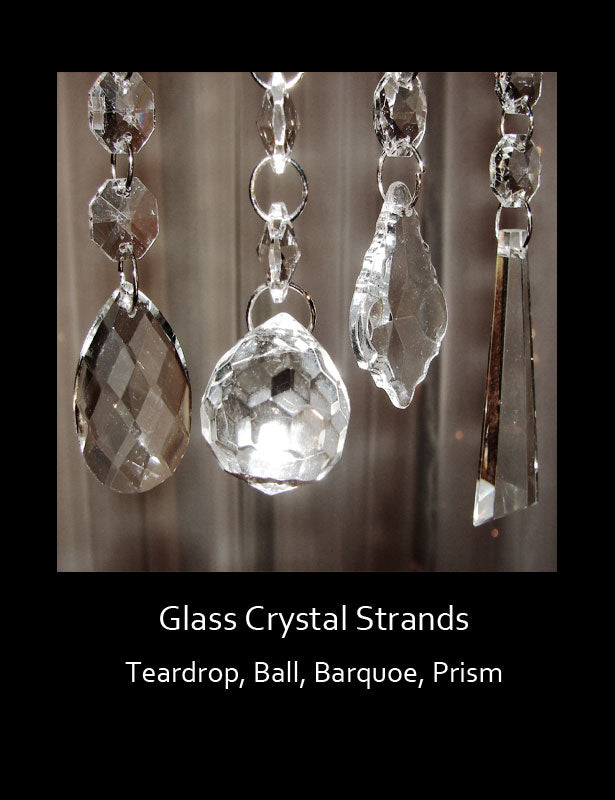 The crystal bead strands have four different dangling pendant shapes: Teardrop, Ball, Baroque, Prism.