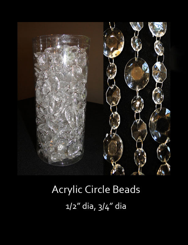 The circle-shaped crystal beads are made by linking a variety of bead sizes together with silver metal rings.