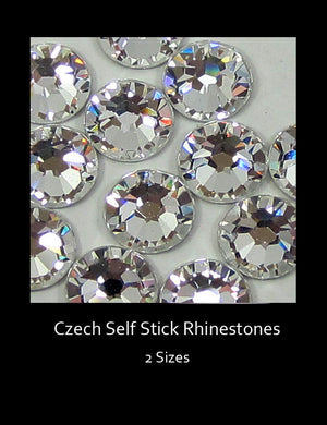 Two sizes of Czech rhinestones are self-stick and perfect for any DIY project.