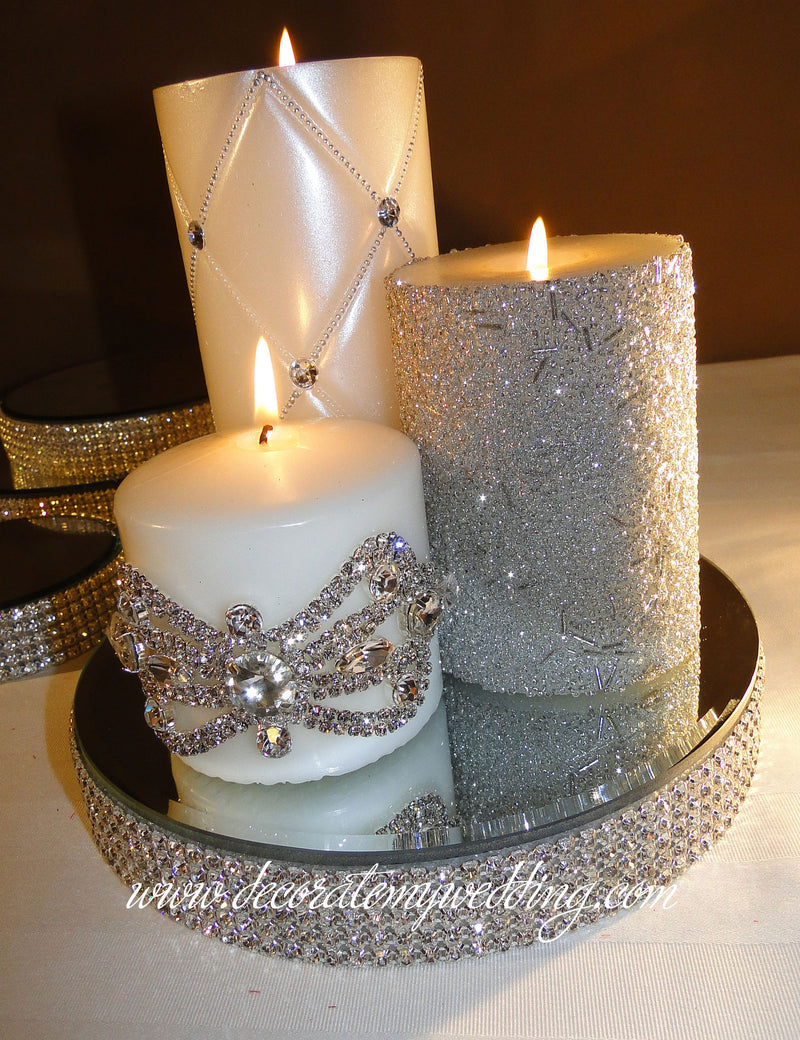 HOW TO USE - A mix of three silver candles displayed on the rhinestone candle holder.