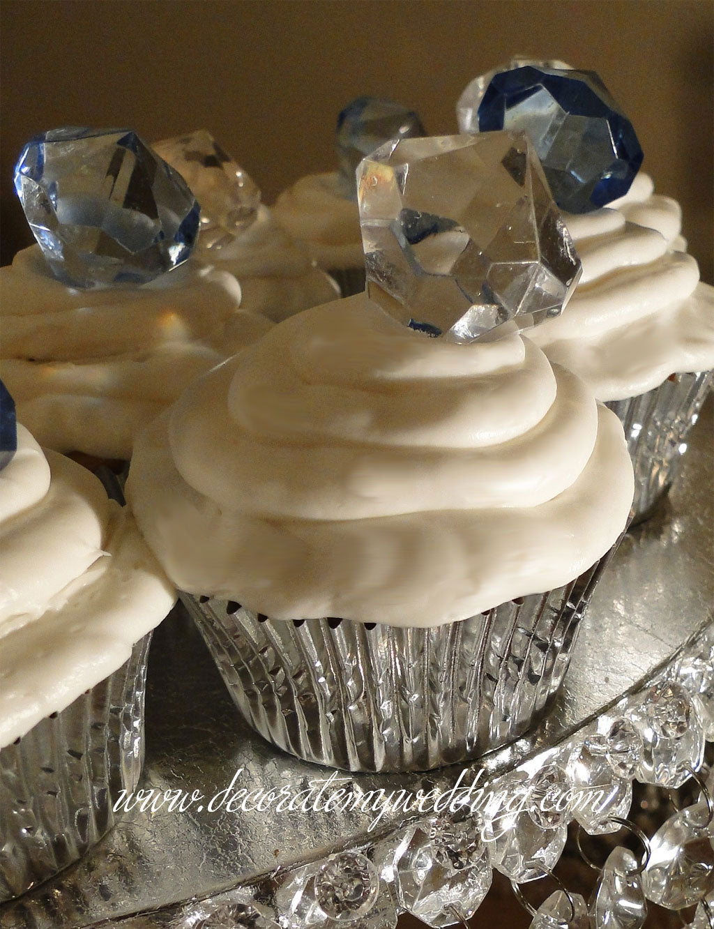 Our unique diamond cake toppers are a great look on your wedding cupcakes.