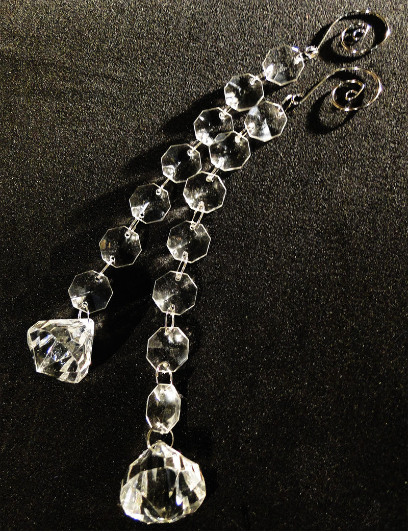9 IN DIAMOND DROP Pendants w/ Spiral Hook ACRYLIC CLEAR