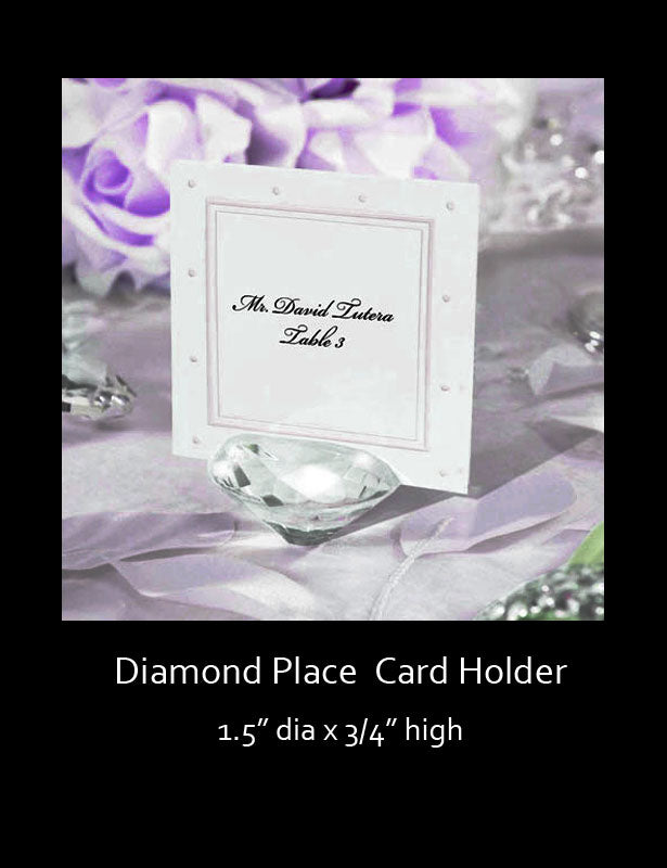 Crystal clear diamond holding displaying a place card which aids your guest in finding their assigned seats.