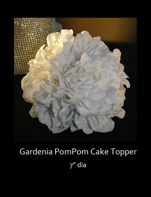 Beautiful soft artificial gardenia petals are used to make this flower pom pom which looks fabulous as a cake topper.