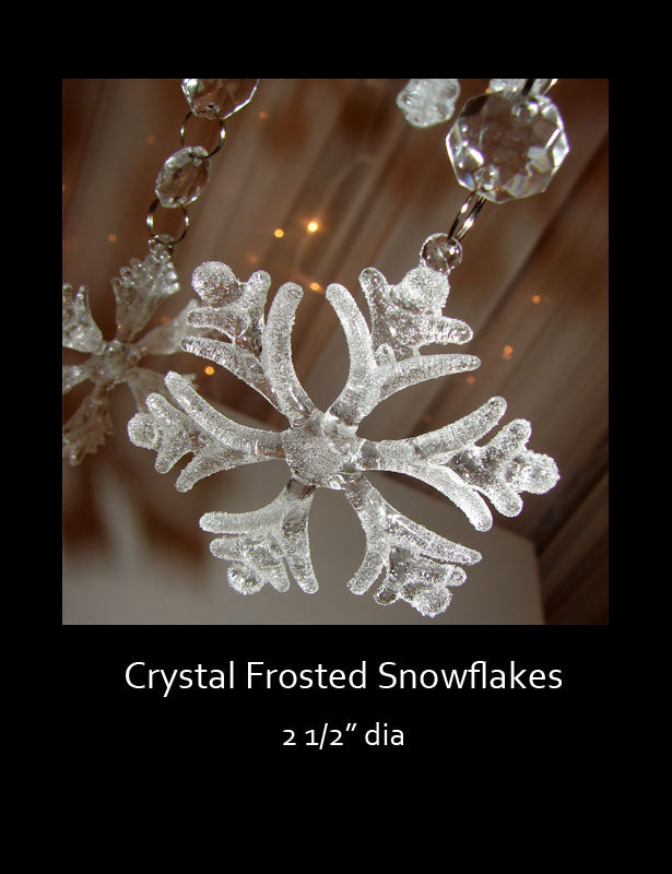 "This frosted snowflake is very delicate and measures 2 ½"" in diameter."