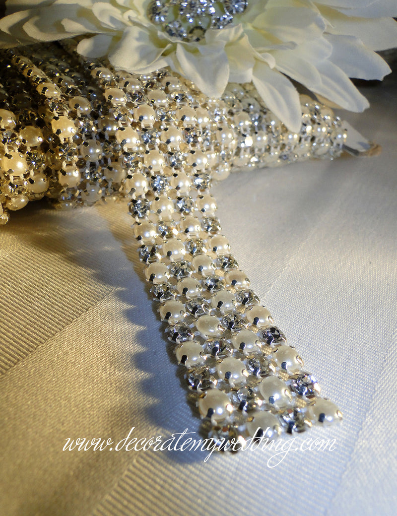 A close up view of the pearl and rhinestone mesh banding. Option 1