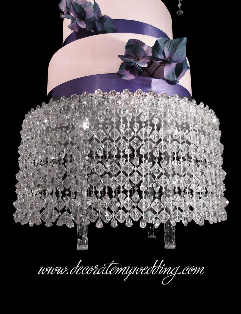 LEAH Cake Stand w/ Hanging Gemstone Beads