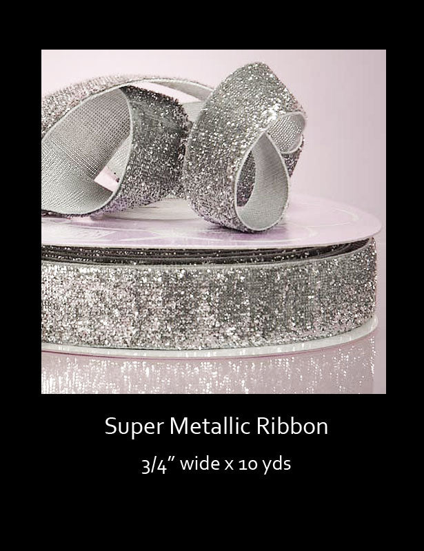 This glittery ribbon is a perfect accent for any decoration that needs a little sparkle.