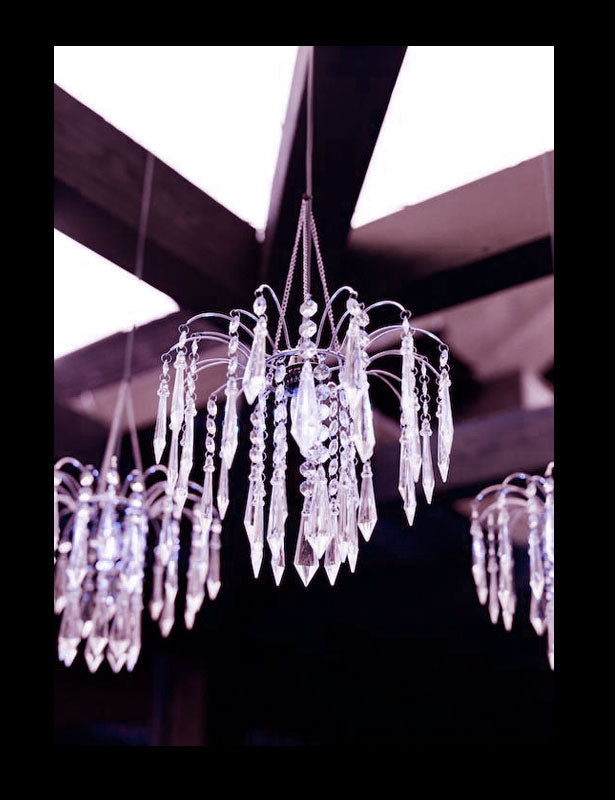 Diamond Hanging Wedding Decorations with diamond pendants and light kits.