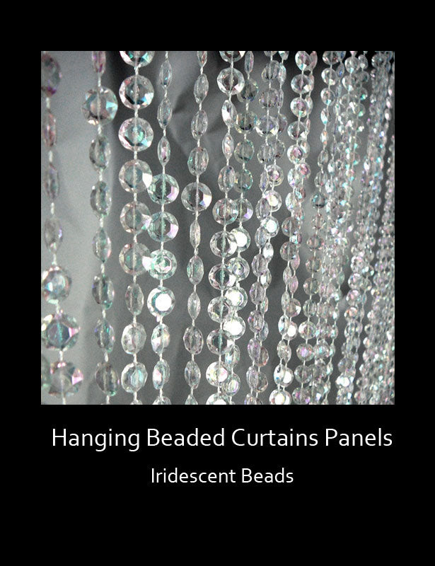 "The iridescent bead strands take on an appearance of ""crystal rain"" when hung."