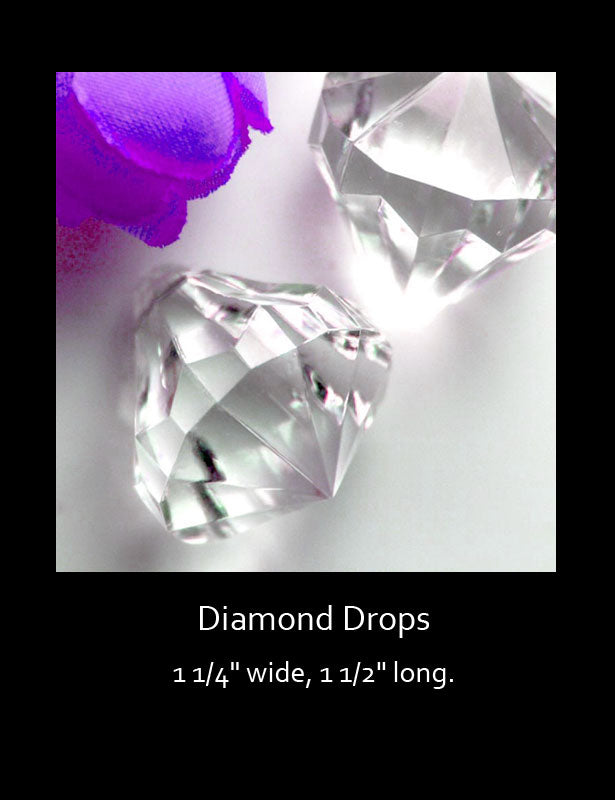 A close up look at the crystal clear diamond drops.