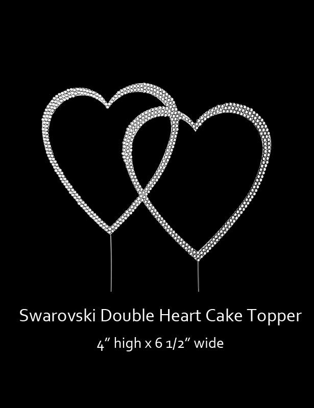 This double heart cake topper is completely covered with Swarovski rhinestones.