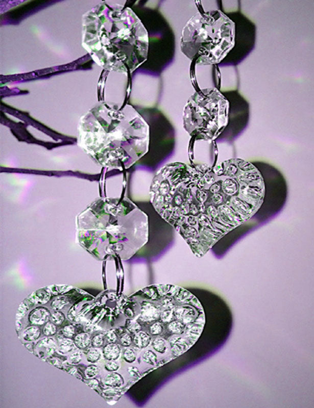 BEAD STRANDS Octagon Bead w/ Heart Pendant & Spiral Hook SOLD OUT