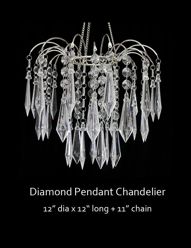Full view of hanging diamond pendant decoration.