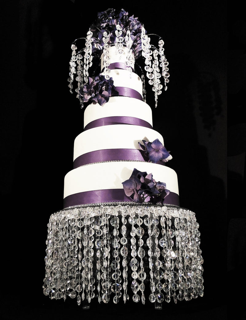 CAKE STAND & MATCHING CAKE TOPPER LOLA Iridescent Beads 14""