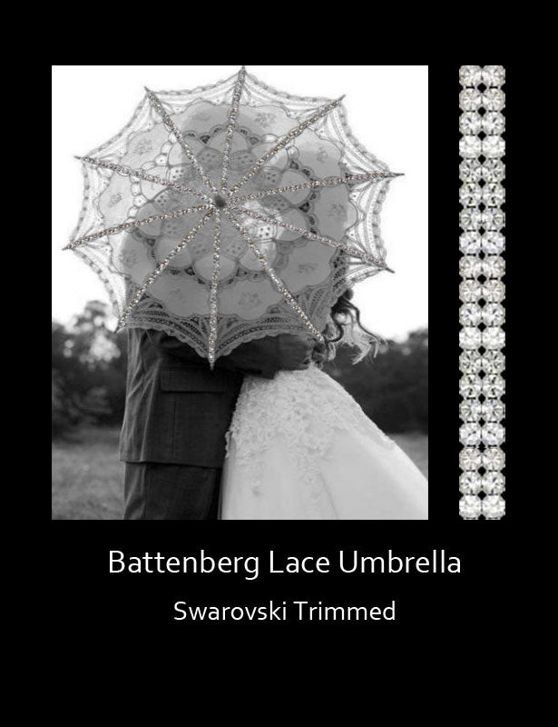This Swarovski-trimmed Belgian Battenberg lace umbrella is available in a white or ivory lace, and silver or gold rhinestone trim.
