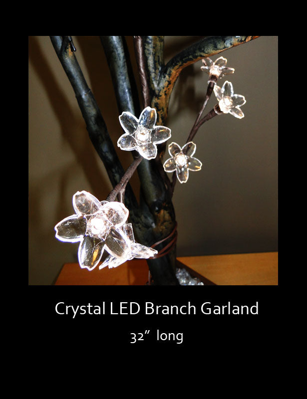 Each garland has lighted acrylic blooms.